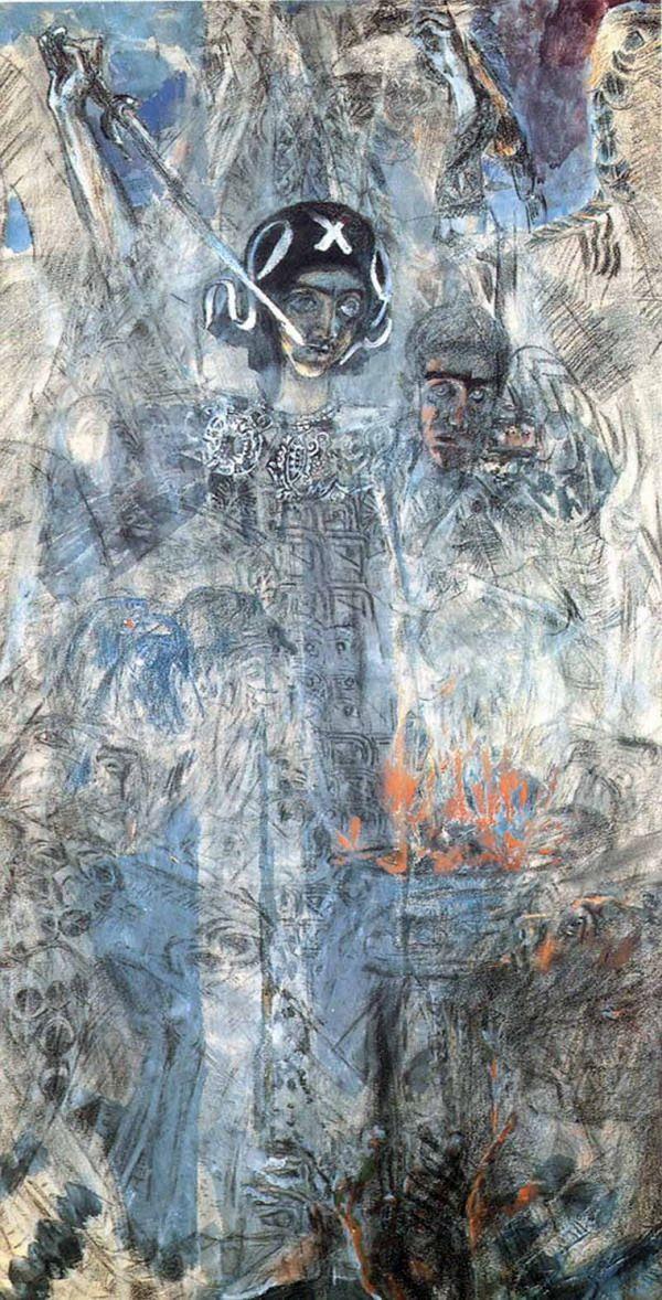 Mikhaïl Vroubel, Vision du prophète Ézéchiel, 1906, aquarelle sur papier, Musée russe, Saint-Pétersbourg.