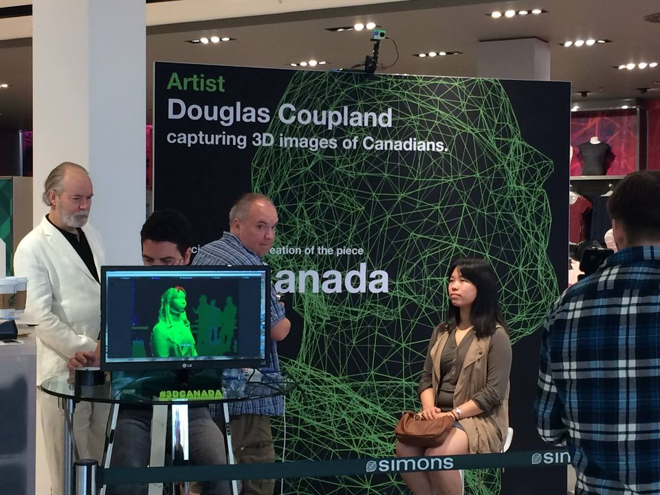 Douglas Coupland scans Canadians' faces at the West Edmonton Mall