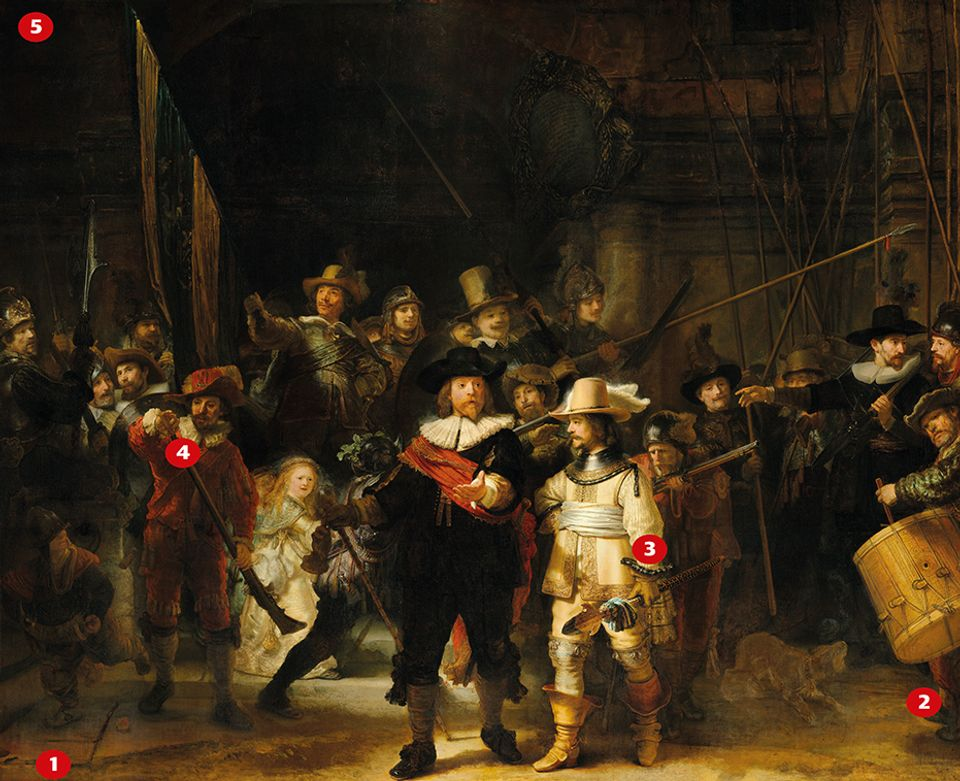 Rembrandt Harmensz van Rijn, Militia Company of District II under the Command of Captain Frans Banninck Cocq, known as the Night Watch (1642)