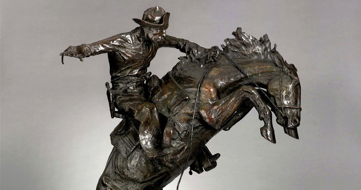 the broncho buster by frederic remington.'