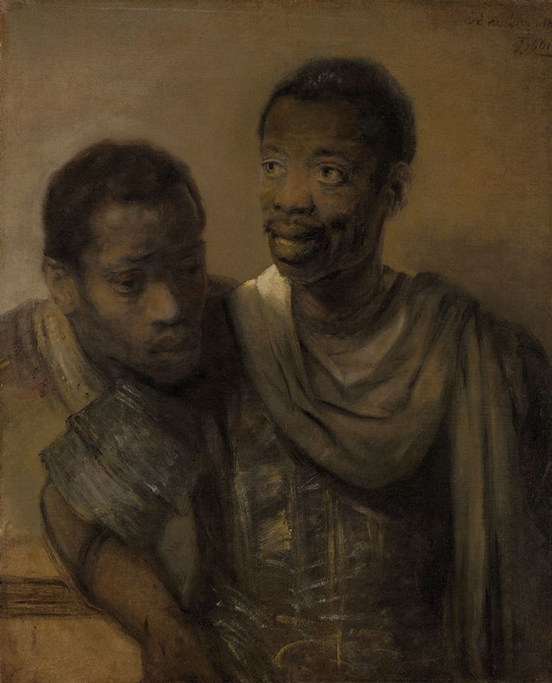 Rembrandt's Two African Men (1661), which inspired new research on black figures in 17th-century art.
