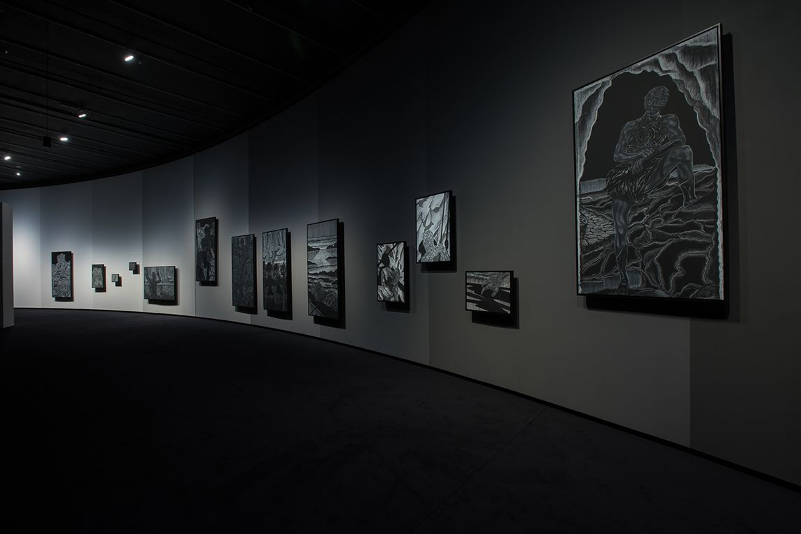 Toyin Ojih Odutola, A Countervailing Theory, 2020 Installation view, The Curve, Barbican