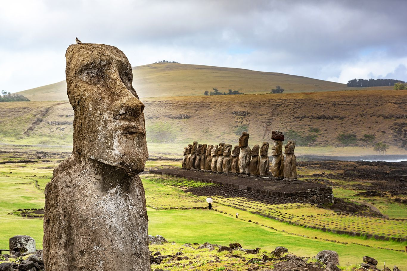 The Mata Ngarahu sector in the ceremonial village of Orongo in Rapa Nui National Park on Easter Island in Chile