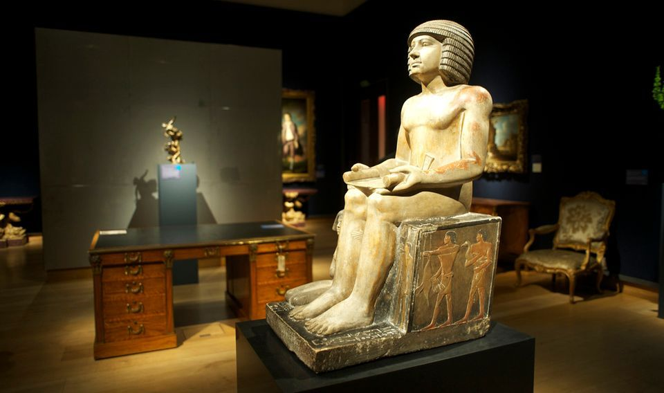 The ancient Egyptian Sekhemka statue displayed at Christie's,        London