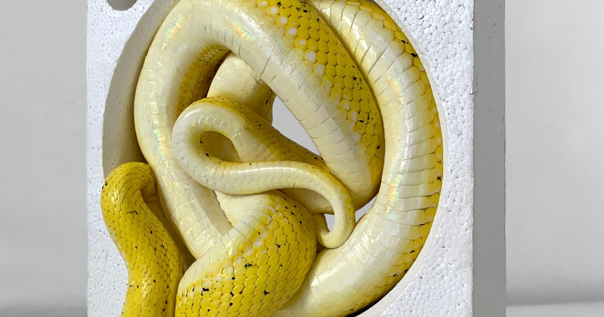 'Gorgeous, repellent, savagely erotic': Polly Morgan's snake sculptures at London's Bomb Factory