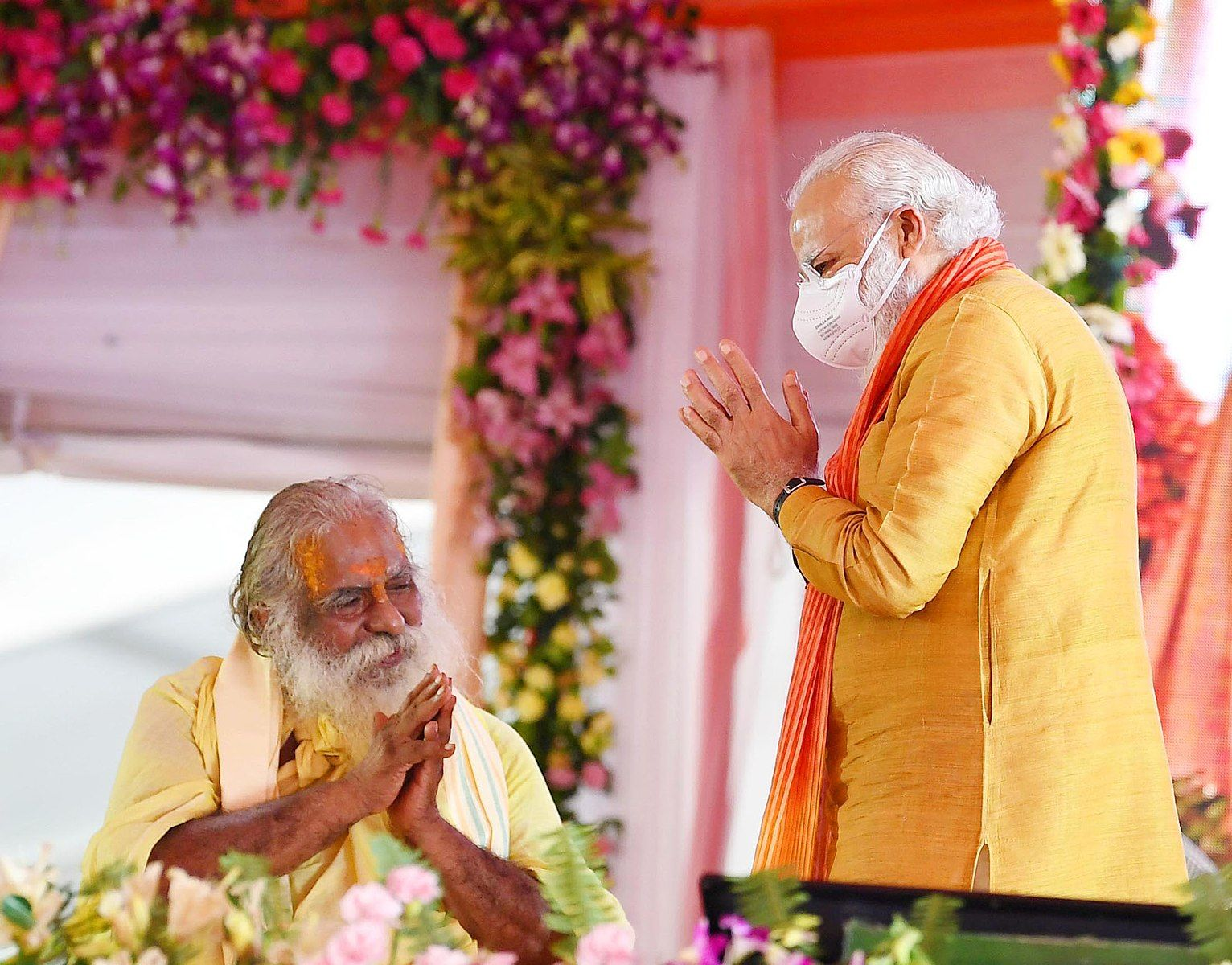 The Prime Minister, Shri Narendra Modi with Mahant Nrityagopal Das at the foundation stone laying ceremony of Shree Ram Janmabhoomi Mandir, in Ayodhya, Uttar Pradesh on August 05, 2020