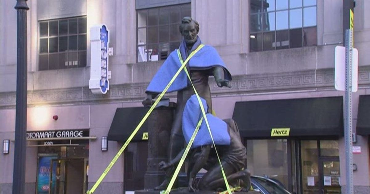 Vilified statue of Abraham Lincoln and kneeling slave removed from Park Square in Boston