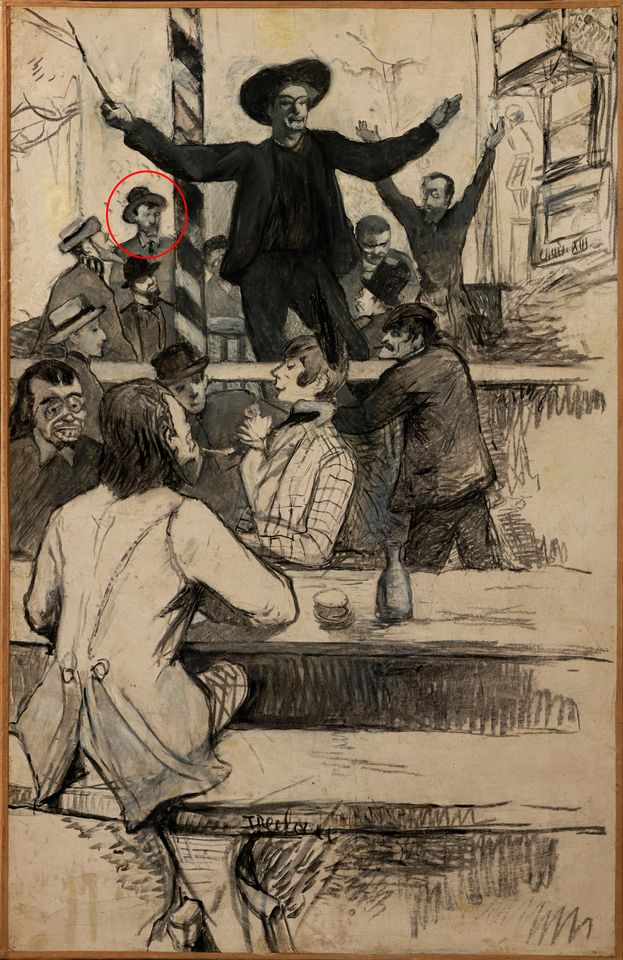 Henri de Toulouse-Lautrec's The Refrain of the Louis XIII Chair at the Cabaret of Aristide Bruant (1886), with Van Gogh circled
