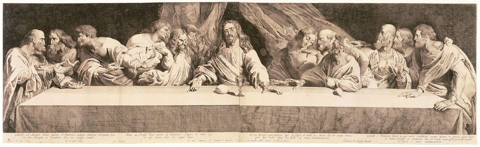 Pieter Claesz Soutman's Last Supper, after Peter Paul Rubens, after Leonardo da Vinci (1620-30)