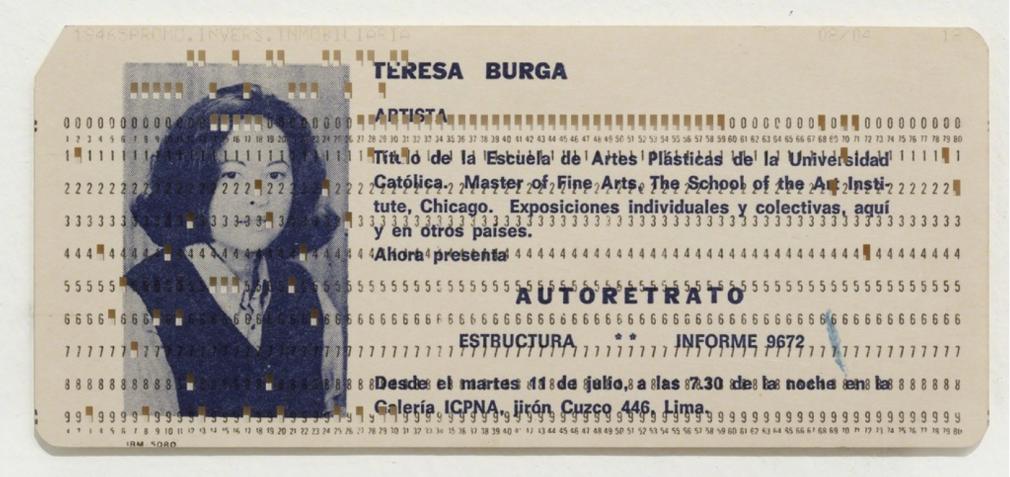 Teresa Burga, Autorretrato (Autorretrato), 1972, serigrafía sobre tarjeta de Hollerith