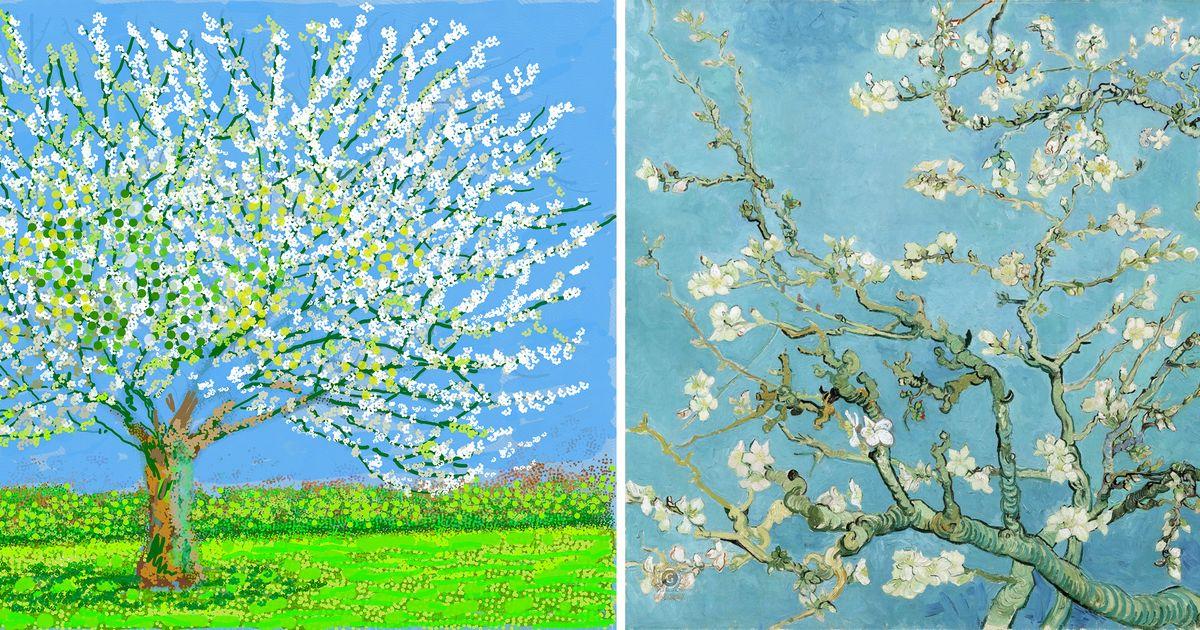 David Hockney follows in Van Gogh's footsteps, painting fleeting spring blossom