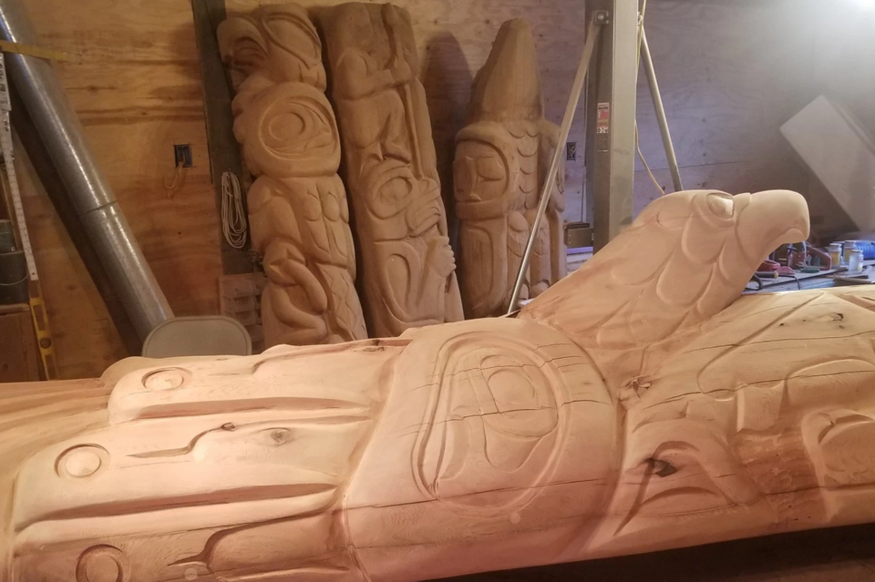 The totem pole in progress