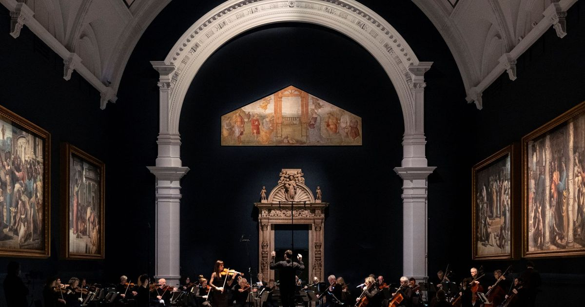 Serenading the apostles: orchestra performs under Raphael Cartoons at Victoria and Albert Museum for new film collaboration
