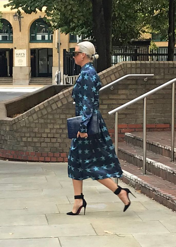 Angela Gulbenkian leaving a London court in September 2019 after denying theft charges in the sale of a Kusama pumpkin