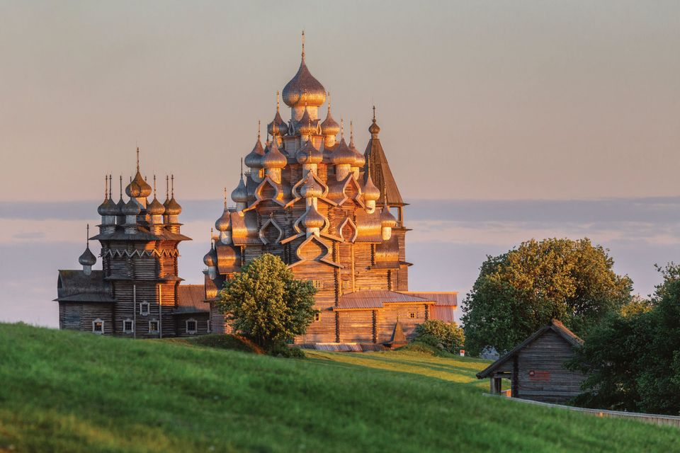 Located on a remote island in Lake Onega, the Russian Orthodox church is part of an ensemble of storied wooden buildings known as Kizhi Pogost, listed as a Unesco World Heritage Site since 1990