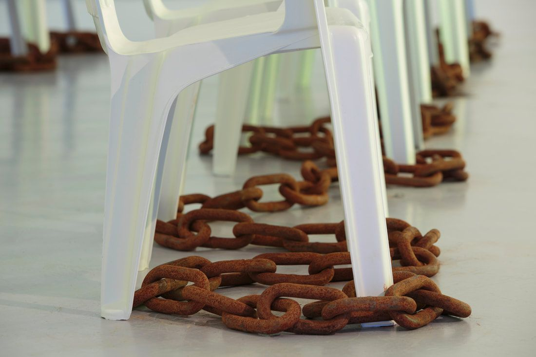 Installation view of Alberta Whittle's solo exhibition How Flexible Can We Make the Mouth? at Dundee Contemporary Arts