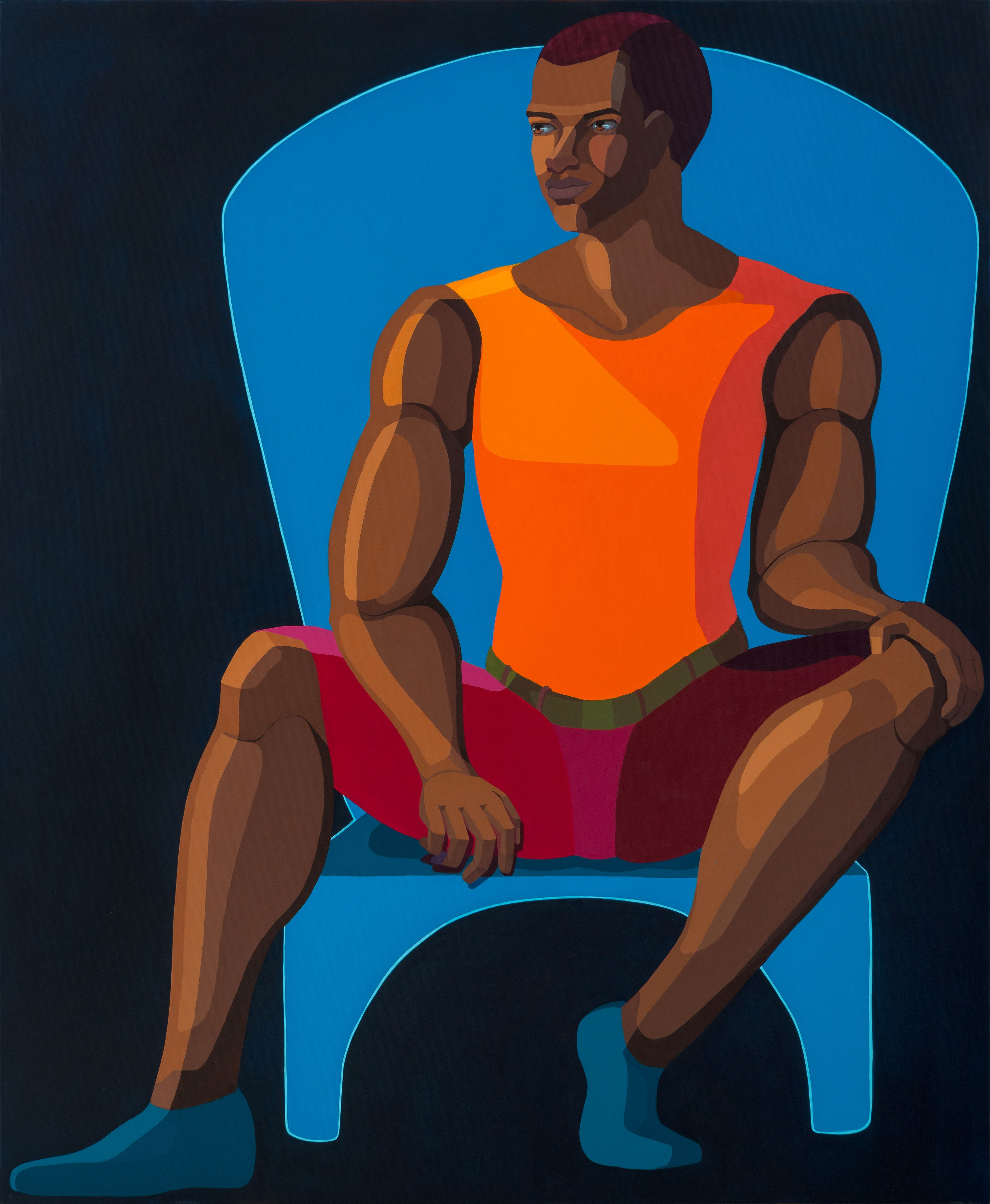Nirit Takele's Young Man Sitting On Blue Chair (2021)