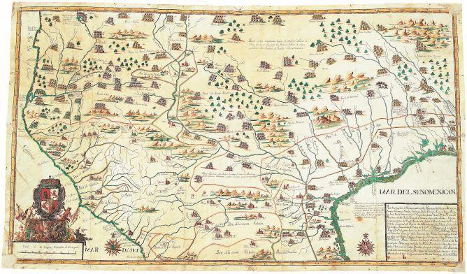 Francisco Álvarez Barreiro, Manuscript map of the North American southwest, 1728